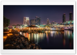 San Diego at Night Scene HD Wide Wallpaper for Widescreen