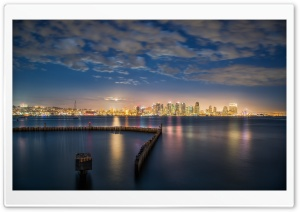 San Diego Bay at Night HD Wide Wallpaper for Widescreen