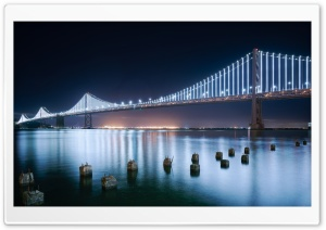 San Francisco Bay Bridge Western Span at night, California Ultra HD Wallpaper for 4K UHD Widescreen desktop, tablet & smartphone