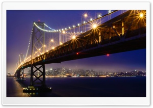 San Francisco Oakland Bay Bridge, Lights, Fog Ultra HD Wallpaper for 4K UHD Widescreen desktop, tablet & smartphone