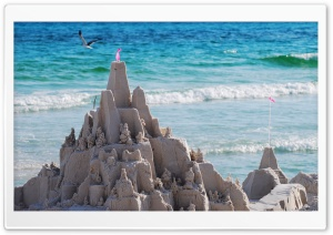 Sandcastles On The Beach HD Wide Wallpaper for 4K UHD Widescreen desktop & smartphone