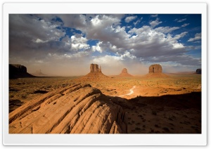 Sandstorm In Monument Valley Utah HD Wide Wallpaper for 4K UHD Widescreen desktop & smartphone