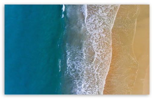 Download Sandy Beach Ocean Waves Aerial View UltraHD Wallpaper