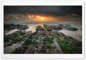 Sandymouth Beach Low Tide Ultra HD Wallpaper for 4K UHD Widescreen desktop, tablet & smartphone