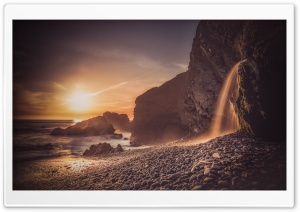 Sandymouth Waterfall Rock Formation Ultra HD Wallpaper for 4K UHD Widescreen desktop, tablet & smartphone