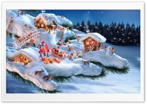 Santa and his Elves HD Wide Wallpaper for Widescreen