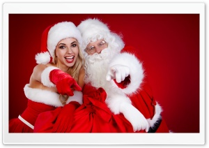 Santa Claus and a Girl HD Wide Wallpaper for Widescreen