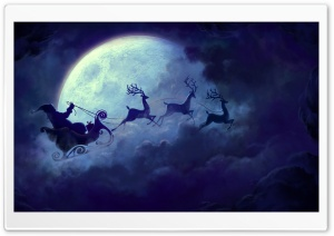 Santa In His Sleigh HD Wide Wallpaper for Widescreen