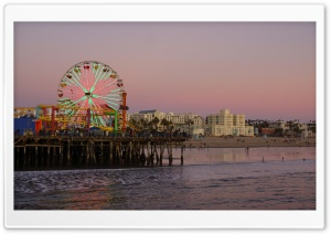 Santa Monica Beach At Evening, Los Angeles HD Wide Wallpaper for 4K UHD Widescreen desktop & smartphone