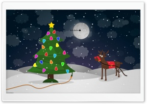Santa's Reindeer HD Wide Wallpaper for Widescreen