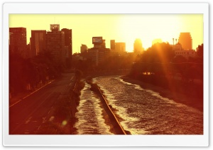 Santiago Atardecer en Ri Mapocho HD Wide Wallpaper for Widescreen