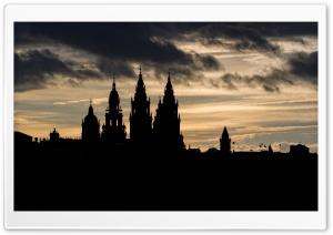 Santiago De Compostela Cathedral Silhouette HD Wide Wallpaper for 4K UHD Widescreen desktop & smartphone