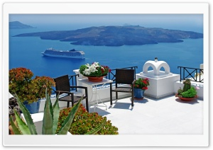 Santorini Scenery HD Wide Wallpaper for Widescreen