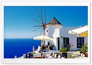 Santorini Windmill Cafe HD Wide Wallpaper for 4K UHD Widescreen desktop & smartphone