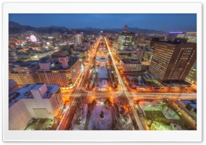 Sapporo At Night HD Wide Wallpaper for Widescreen
