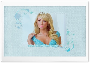 Sara Jean Underwood - Blue Background HD Wide Wallpaper for Widescreen