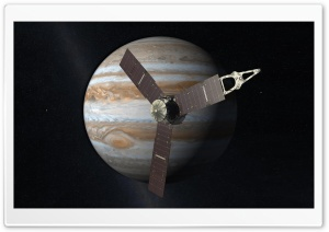 Satellite Orbiting Jupiter HD Wide Wallpaper for Widescreen