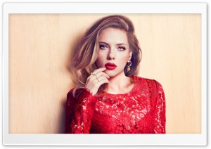 Scarlett Johansson In Red Dress HD Wide Wallpaper for Widescreen