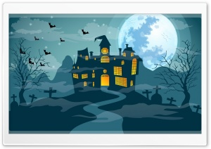 Scary Halloween Night, Haunted Castle, Full Moon Ultra HD Wallpaper for 4K UHD Widescreen desktop, tablet & smartphone