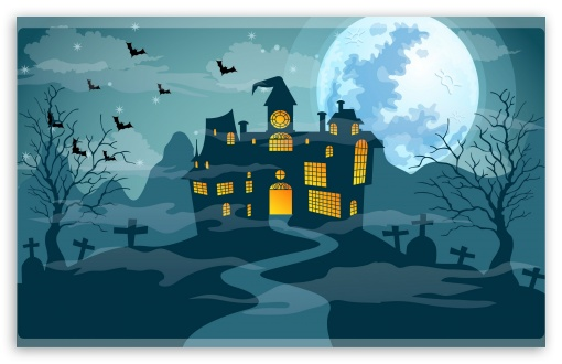 Scary Halloween Night, Haunted Castle, Full Moon UltraHD Wallpaper for Wide 16:10 5:3 Widescreen WHXGA WQXGA WUXGA WXGA WGA ; 8K UHD TV 16:9 Ultra High Definition 2160p 1440p 1080p 900p 720p ; Mobile 5:3 16:9 - WGA 2160p 1440p 1080p 900p 720p ;