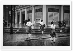 Schoolgirls Running in the Rain HD Wide Wallpaper for Widescreen