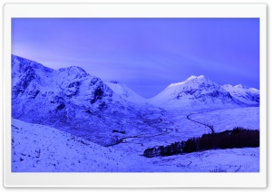 Scotland Mountains, Winter, Evening HD Wide Wallpaper for Widescreen