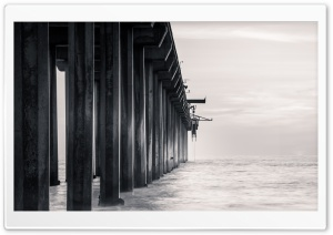 Scripps Pier Black and White HD Wide Wallpaper for 4K UHD Widescreen desktop & smartphone