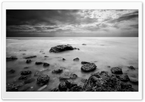Sea In Black And White HD Wide Wallpaper for Widescreen