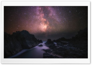 Sea, Rocks, Milky Way Galaxy, Night Sky Ultra HD Wallpaper for 4K UHD Widescreen desktop, tablet & smartphone