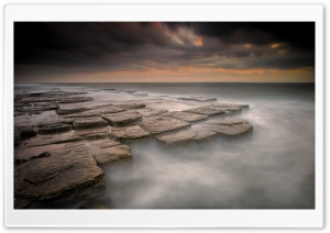 Sea Rocks, Mist, Down Ultra HD Wallpaper for 4K UHD Widescreen desktop, tablet & smartphone