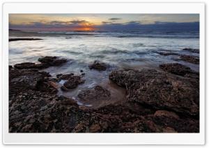 Sea Rocks, Sunset HD Wide Wallpaper for Widescreen