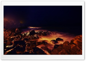 Sea Shore At Night HD Wide Wallpaper for Widescreen