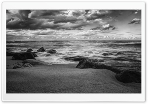 Sea Shore Black And White HD Wide Wallpaper for Widescreen