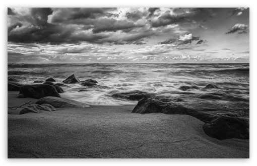 Download sea shore black and white hd wallpaper