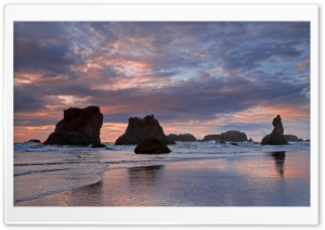 Sea Stacks At Sunset Bandon Oregon HD Wide Wallpaper for Widescreen