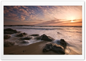 Sea Sunset, Long Exposure HD Wide Wallpaper for Widescreen