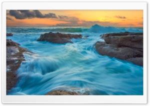 Sea Waves, Shore, Orange Sunrise Ultra HD Wallpaper for 4K UHD Widescreen desktop, tablet & smartphone
