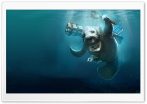 Seal Underwater Painting HD Wide Wallpaper for Widescreen