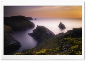 Seascape Photography Boscastle Sunset HD Wide Wallpaper for 4K UHD Widescreen desktop & smartphone