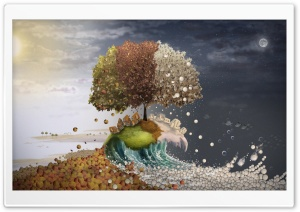 Seasons Surreal Art HD Wide Wallpaper for Widescreen