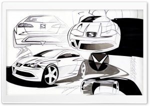 Seat Ibiza Sketches HD Wide Wallpaper for Widescreen