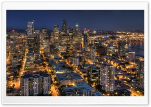 Seattle At Night From The Space Needle HDR Ultra HD Wallpaper for 4K UHD Widescreen desktop, tablet & smartphone