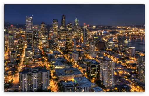 Seattle At Night From The Space Needle HDR HD wallpaper for Wide 16:10 5:3 Widescreen WHXGA WQXGA WUXGA WXGA WGA ; HD 16:9 High Definition WQHD QWXGA 1080p 900p 720p QHD nHD ; Mobile 5:3 16:9 - WGA WQHD QWXGA 1080p 900p 720p QHD nHD ;