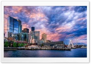 Seattle Great Wheel, Washington, USA HD Wide Wallpaper for Widescreen