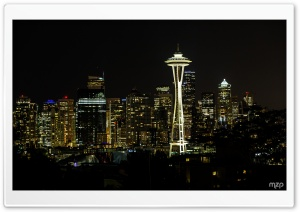 Seattle, Night HD Wide Wallpaper for Widescreen