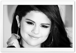 Selena Gomez Black And White HD Wide Wallpaper for Widescreen