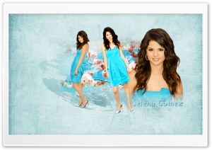 Selena Gomez in Blue Dress HD Wide Wallpaper for Widescreen