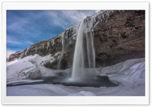 Seljalandsfoss Waterfall, Iceland, Winter HD Wide Wallpaper for 4K UHD Widescreen desktop & smartphone