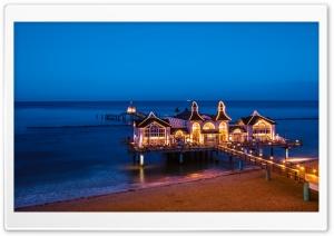 Sellin Pier, Baltic Seaside Resort, Germany, Night lights Ultra HD Wallpaper for 4K UHD Widescreen desktop, tablet & smartphone