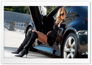 Sexy Girl And Car HD Wide Wallpaper for Widescreen